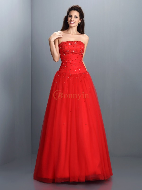 Red Organza Strapless Ball Gown Floor-Length Dresses