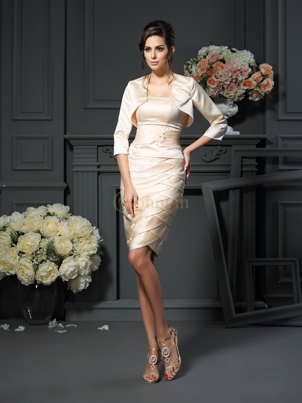 Champagne Satin Strapless Sheath/Column Knee-Length Mother of the Bride Dresses