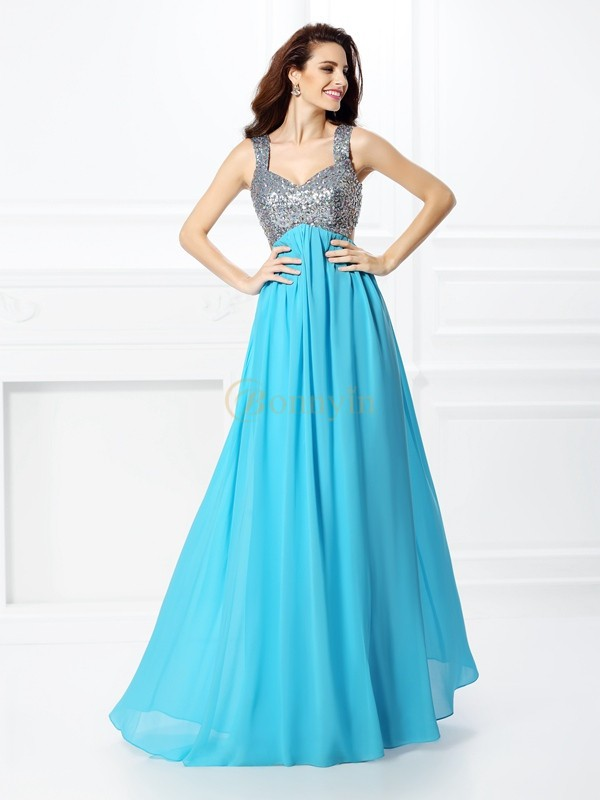 Blue Chiffon Straps A-Line/Princess Floor-Length Prom Dresses