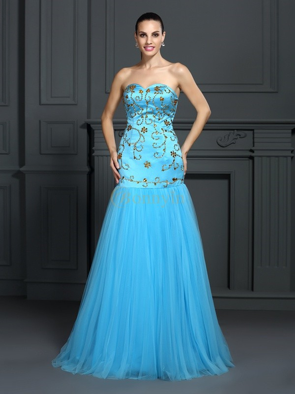 Blue Satin Sweetheart Trumpet/Mermaid Sweep/Brush Train Dresses
