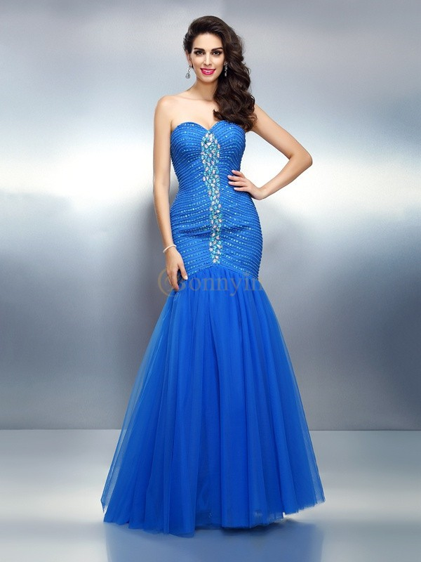 Royal Blue Satin Sweetheart Trumpet/Mermaid Floor-Length Dresses