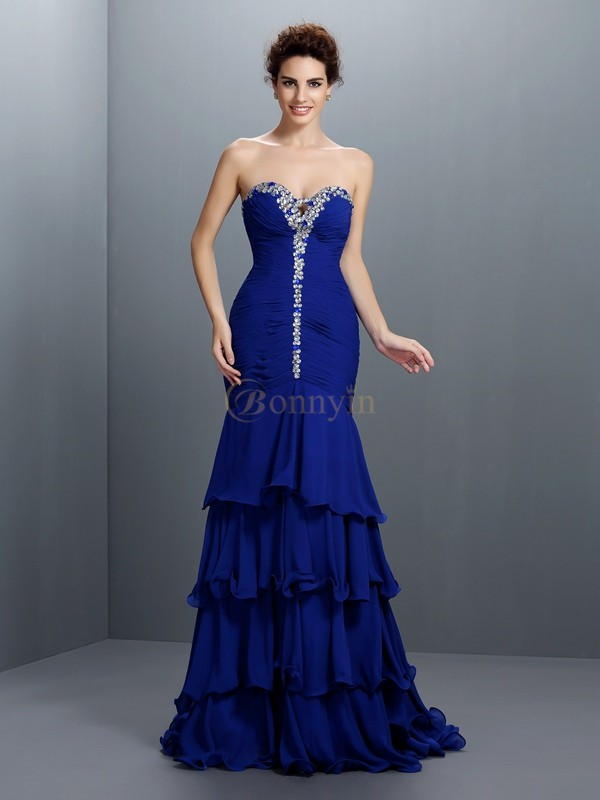 Royal Blue Chiffon Sweetheart Trumpet/Mermaid Sweep/Brush Train Prom Dresses