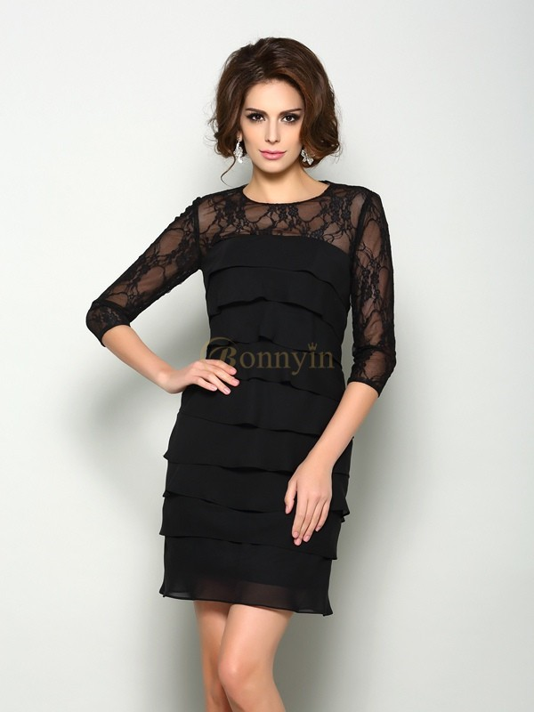 Black Chiffon Scoop A-Line/Princess Short/Mini Mother of the Bride Dresses