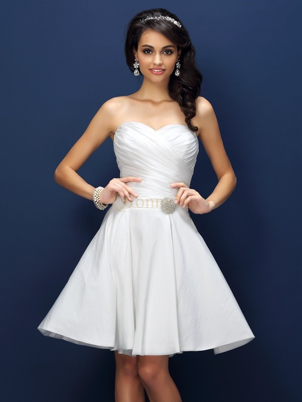 White Taffeta Sweetheart A-Line/Princess Short/Mini Bridesmaid Dresses