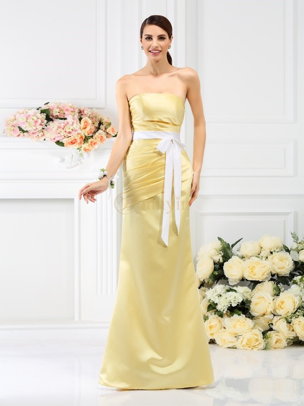 Yellow Satin Strapless Trumpet/Mermaid Floor-Length Bridesmaid Dresses