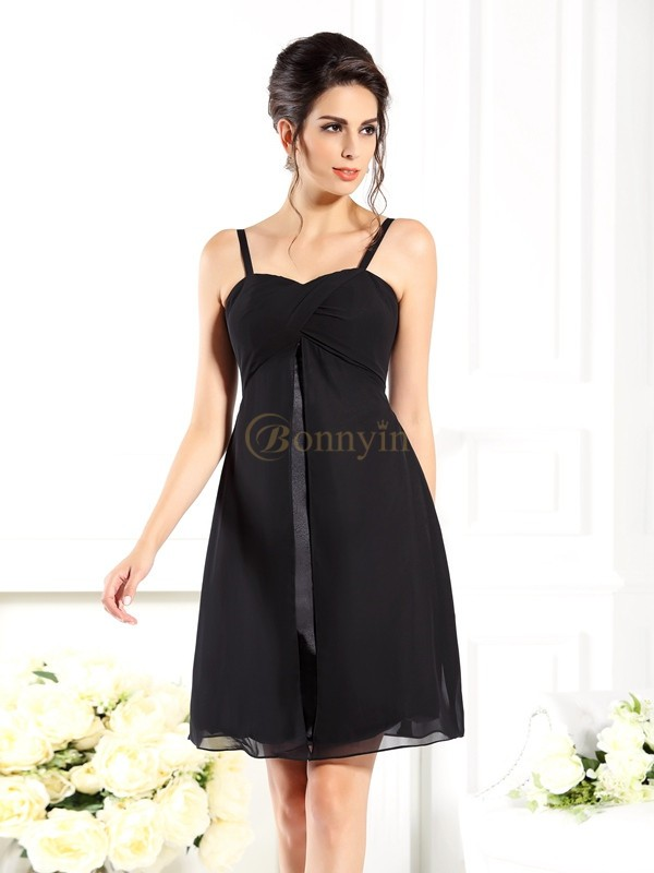 Black Chiffon Spaghetti Straps A-Line/Princess Short/Mini Bridesmaid Dresses