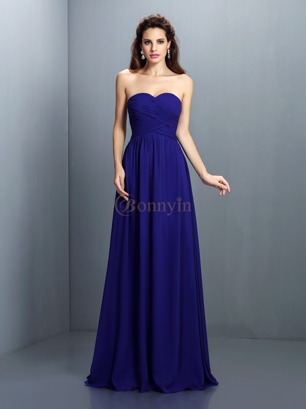 Royal Blue Chiffon Sweetheart A-Line/Princess Floor-Length Bridesmaid Dresses