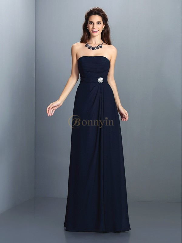 Dark Navy Chiffon Strapless A-Line/Princess Floor-Length Bridesmaid Dresses