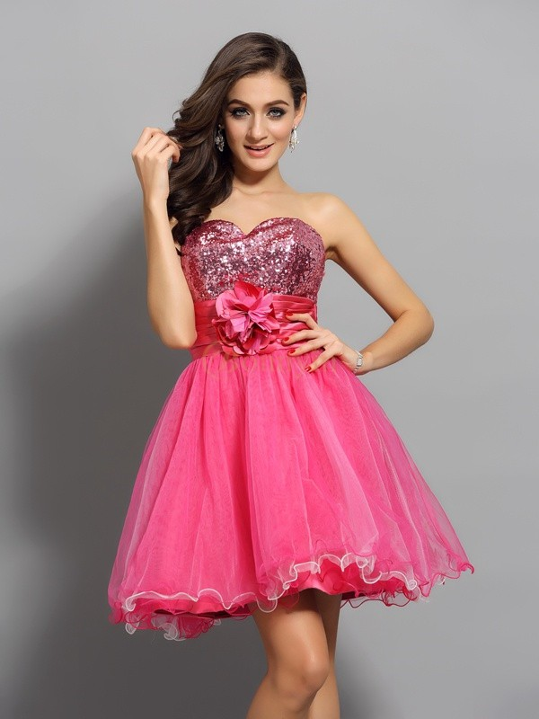 Watermelon Net Sweetheart A-Line/Princess Short/Mini Dresses