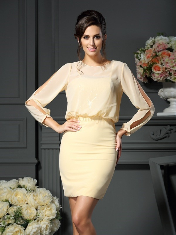 Yellow Chiffon Scoop Sheath/Column Short/Mini Mother of the Bride Dresses