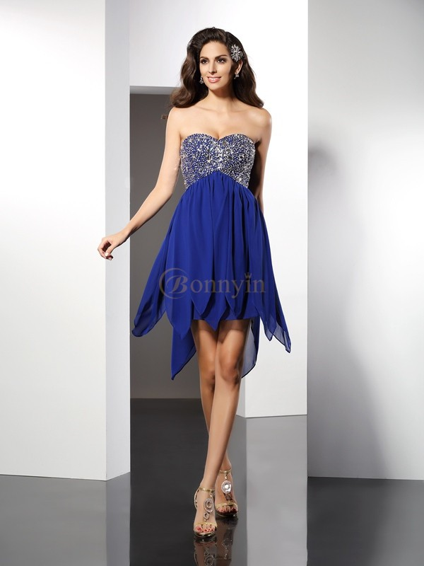 Royal Blue Chiffon Sweetheart A-Line/Princess Short/Mini Dresses