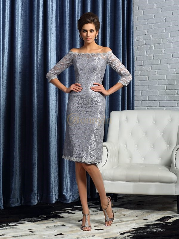 Silver Satin Off-the-Shoulder Sheath/Column Knee-Length Mother of the Bride Dresses