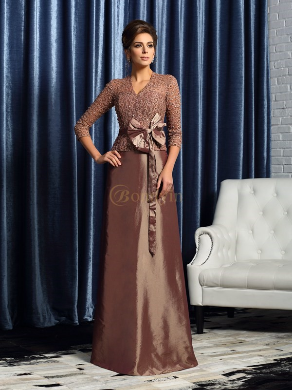 Brown Taffeta V-neck A-Line/Princess Floor-Length Mother of the Bride Dresses