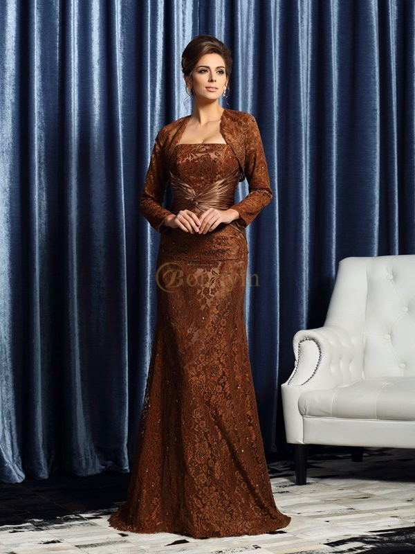 Chocolate Silk like Satin Strapless Sheath/Column Court Train Mother of the Bride Dresses