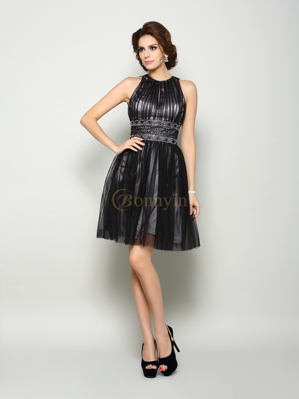Black Elastic Woven Satin High Neck A-Line/Princess Short/Mini Mother of the Bride Dresses