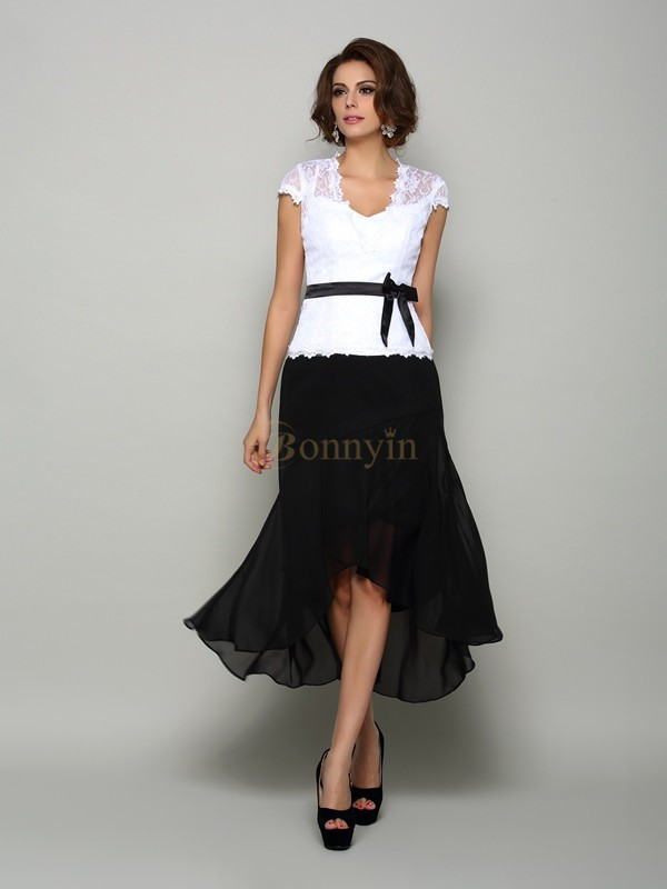 Black Chiffon V-neck A-Line/Princess Asymmetrical Mother of the Bride Dresses