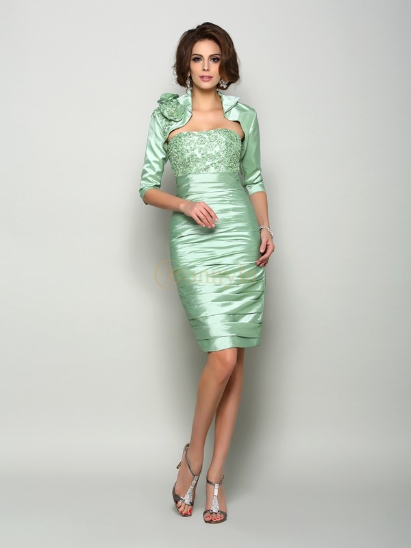 Sage Taffeta Strapless Sheath/Column Knee-Length Mother of the Bride Dresses