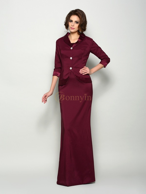 Burgundy Elastic Woven Satin Square A-Line/Princess Floor-Length Mother of the Bride Dresses