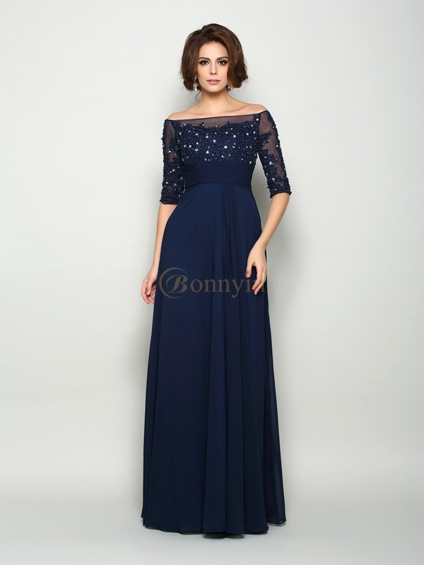 Dark Navy Chiffon Off-the-Shoulder A-Line/Princess Floor-Length Mother of the Bride Dresses