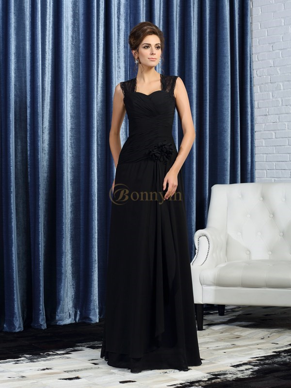 Black Chiffon Straps A-Line/Princess Floor-Length Mother of the Bride Dresses