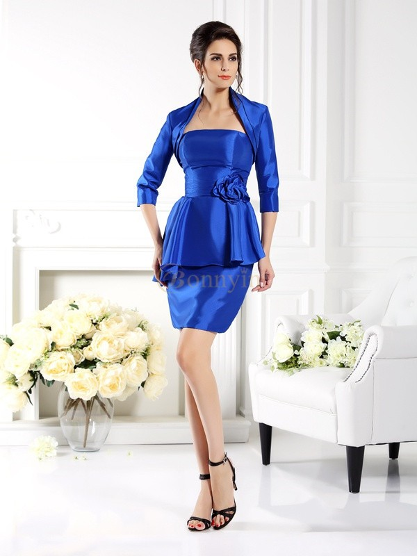 Royal Blue Taffeta Strapless Sheath/Column Short/Mini Mother of the Bride Dresses