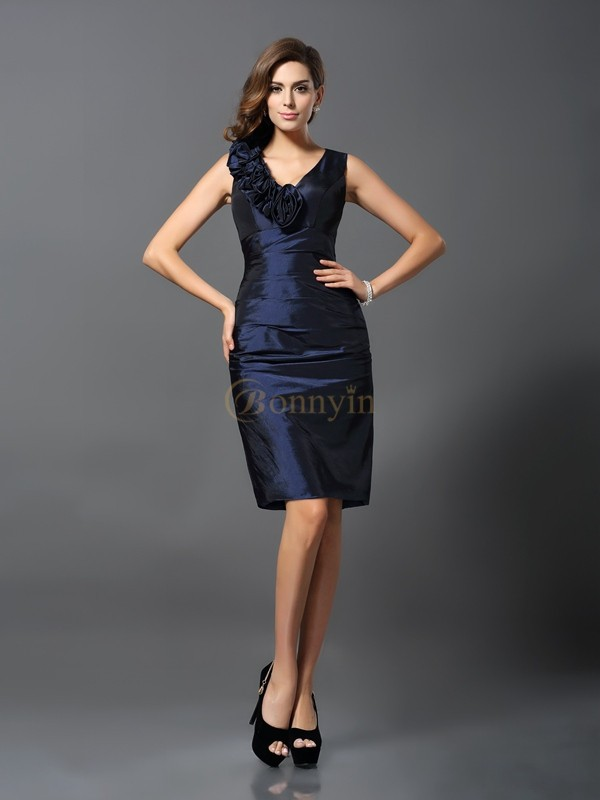 Dark Navy Taffeta V-neck Sheath/Column Knee-Length Dresses