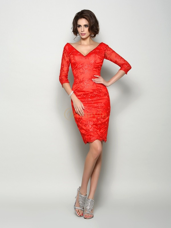 Red Lace V-neck Sheath/Column Knee-Length Mother of the Bride Dresses