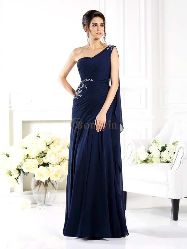 Dark Navy Chiffon One-Shoulder Sheath/Column Floor-Length Mother of the Bride Dresses