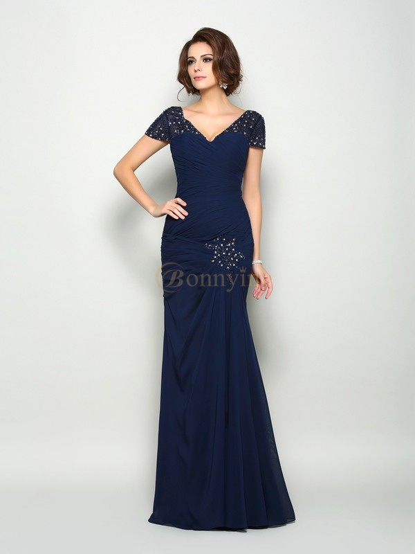 Dark Navy Chiffon V-neck Trumpet/Mermaid Floor-Length Mother of the Bride Dresses