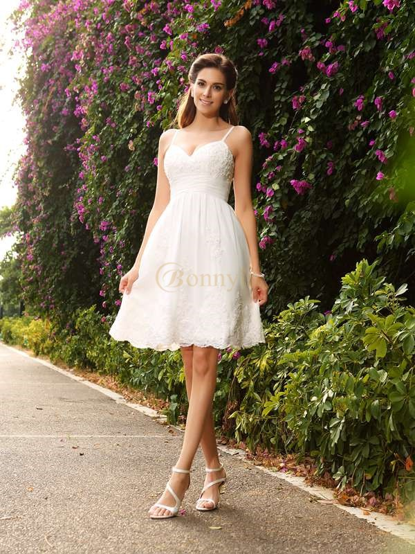 Ivory Lace Spaghetti Straps A-Line/Princess Knee-Length Wedding Dresses