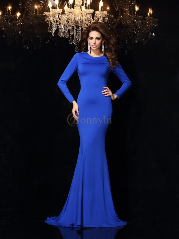 Royal Blue Spandex Scoop Trumpet/Mermaid Sweep/Brush Train Dresses