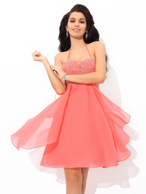 Watermelon Chiffon Halter A-Line/Princess Short/Mini Cocktail Dresses