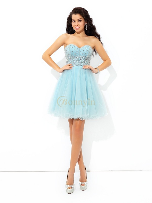 Blue Satin Sweetheart A-Line/Princess Short/Mini Cocktail Dresses