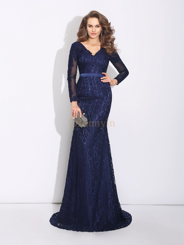 Dark Navy Lace V-neck Sheath/Column Sweep/Brush Train Evening Dresses