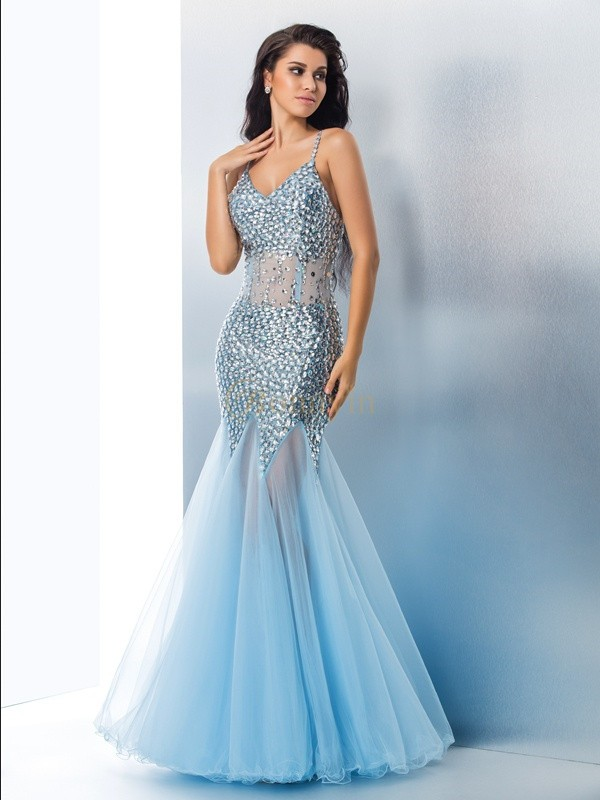 Light Sky Blue Organza Spaghetti Straps Trumpet/Mermaid Floor-Length Prom Dresses