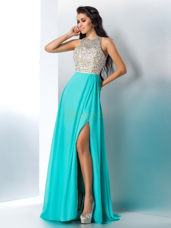 Blue Chiffon Scoop A-Line/Princess Floor-Length Prom Dresses
