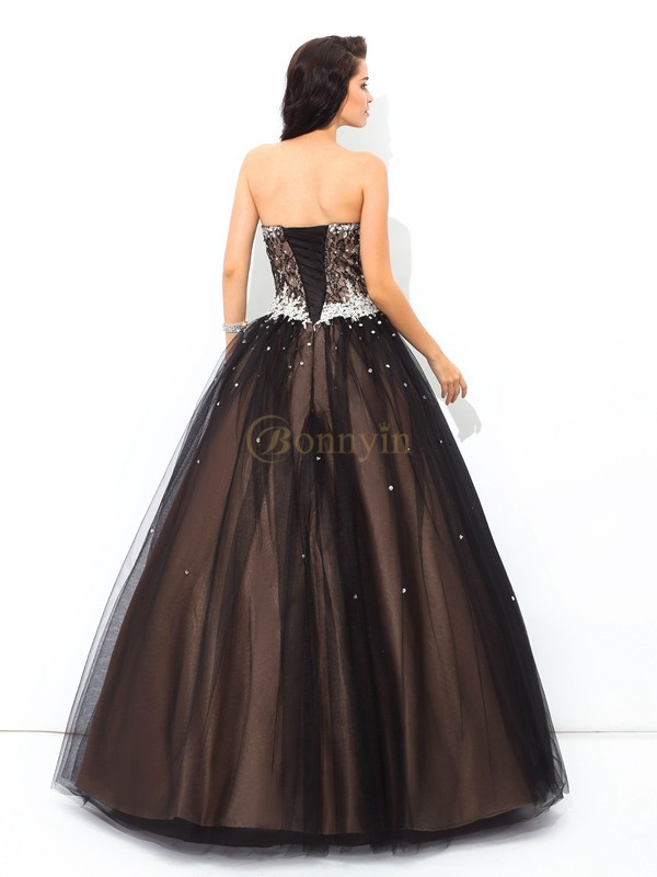 Black Net Sweetheart Ball Gown Floor-Length Quinceanera Dresses