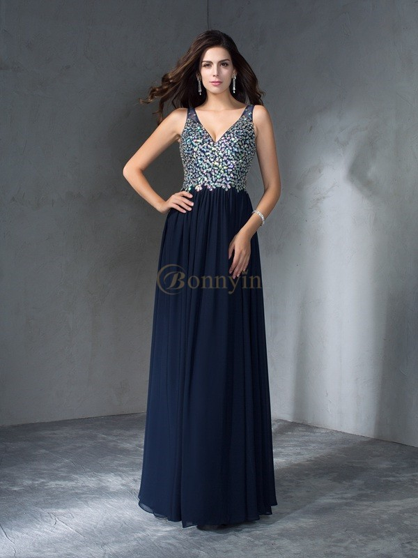 Dark Navy Chiffon V-neck A-Line/Princess Floor-Length Prom Dresses
