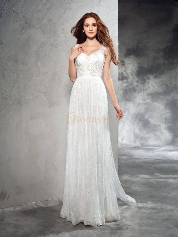 Ivory Lace Straps A-Line/Princess Court Train Wedding Dresses