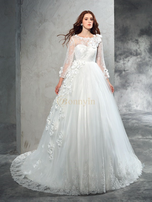 Ivory Net Sheer Neck Ball Gown Court Train Wedding Dresses