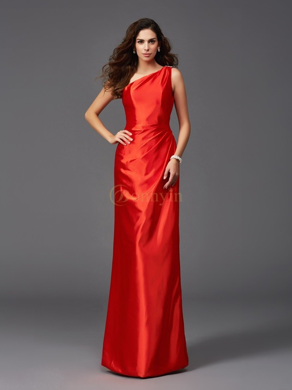 Red Elastic Woven Satin One-Shoulder Sheath/Column Floor-Length Bridesmaid Dresses