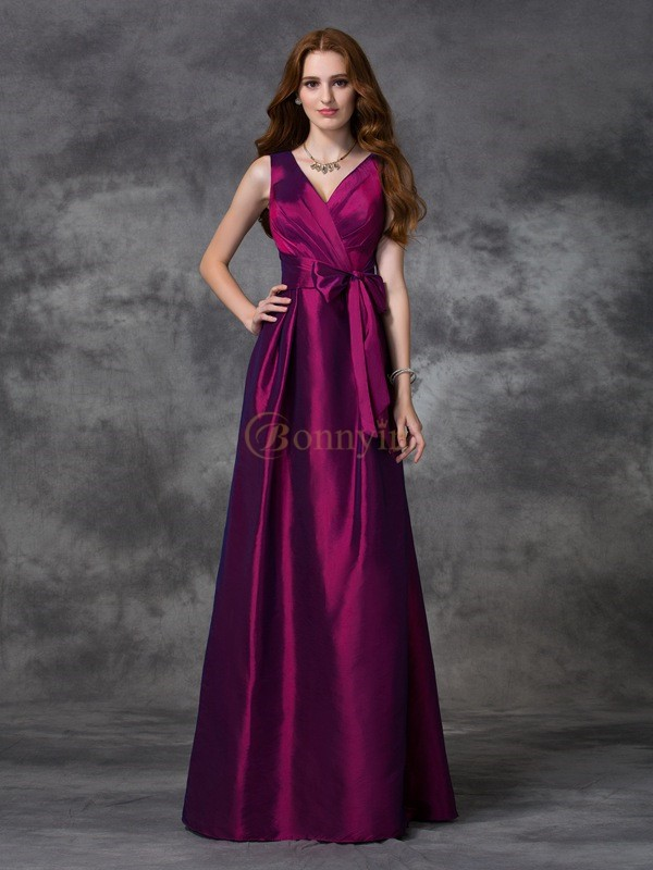 Burgundy Taffeta V-neck A-line/Princess Floor-length Bridesmaid Dresses