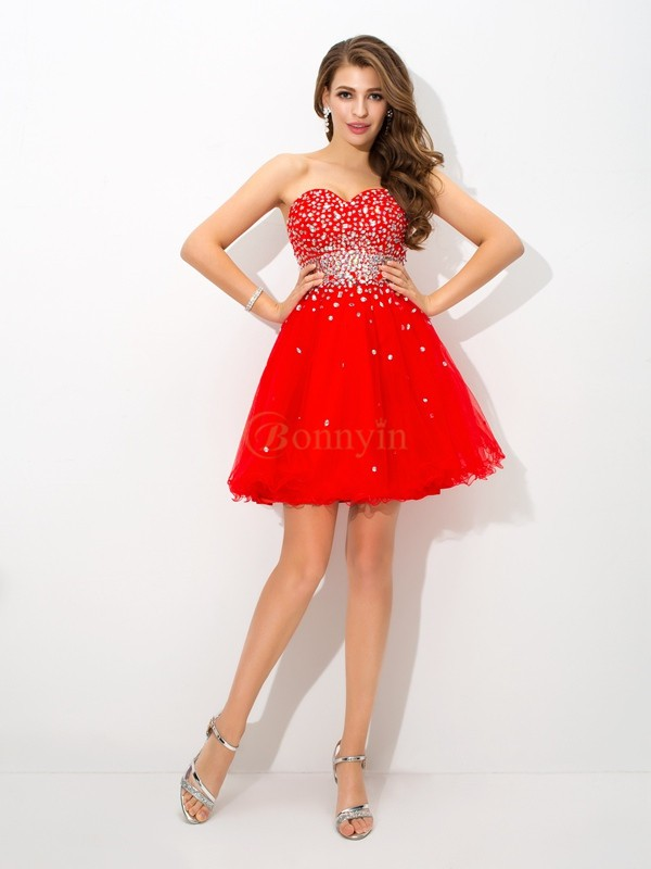 Red Organza Sweetheart A-Line/Princess Short/Mini Cocktail Dresses