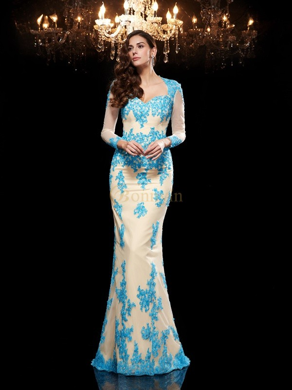 Blue Net Sweetheart Trumpet/Mermaid Sweep/Brush Train Evening Dresses