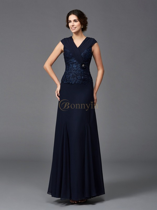 Dark Navy Chiffon Straps A-Line/Princess Ankle-Length Mother of the Bride Dresses