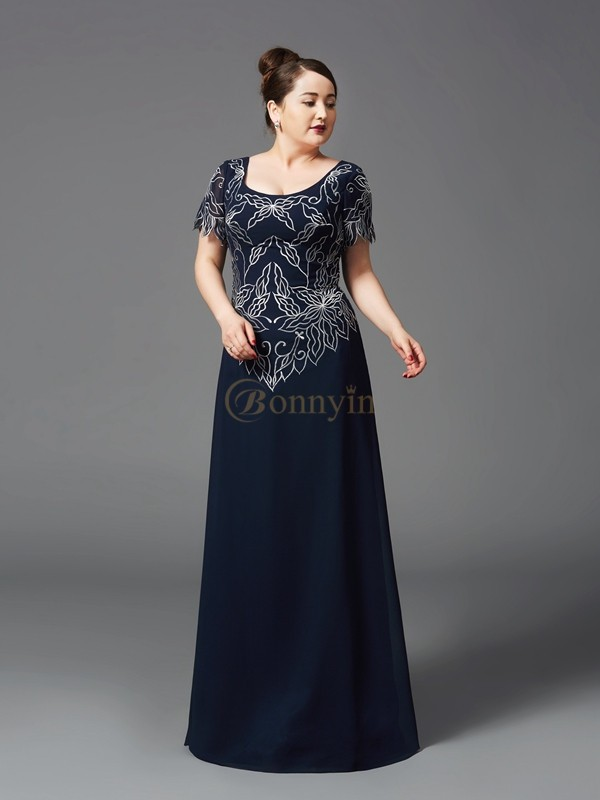 Dark Navy Chiffon Square A-Line/Princess Floor-Length Mother of the Bride Dresses