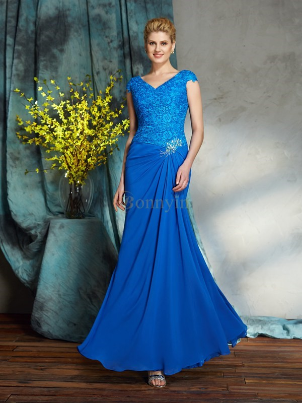 Blue Chiffon V-neck Sheath/Column Floor-Length Mother of the Bride Dresses