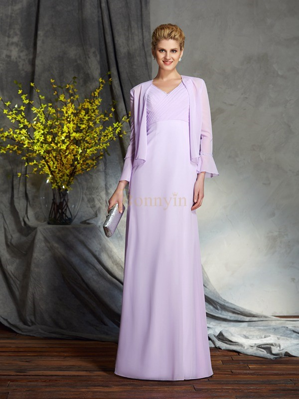 Lavender Chiffon V-neck Sheath/Column Floor-Length Mother of the Bride Dresses