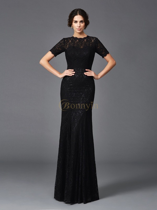 Black Elastic Woven Satin Jewel Sheath/Column Floor-Length Mother of the Bride Dresses