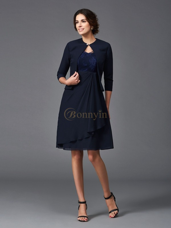 Dark Navy Chiffon V-neck A-Line/Princess Knee-Length Mother of the Bride Dresses